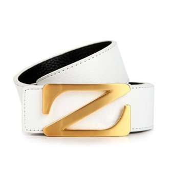 Harga New Style Man's Genuine Leather Z Letter Casual Belt MBTCKO-016-5 white