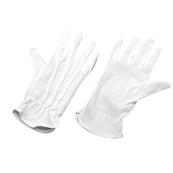 Harga Pair Protective Anti-Slip White Cotton Work Driving Gloves (EXPORT)