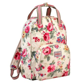 "Harga Cath Kidston Multi Pocket Backpack Matt Oilcloth Rucksack Clarendon Rose 16SS (Colour Cream) Fitting 13"" Laptop 557696"