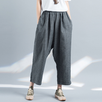 Harga Summer New style Women's 2017 Plus-sized fat mm literary retro Asian Linen striped casual pants HarLan pants cropped pants