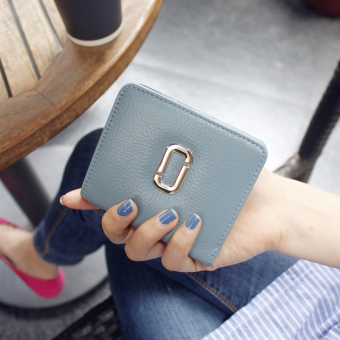 Harga 2017 Korea New style small wallet women leather short paragraph wallet ultra-thin minimalist small fresh leather card bit wallet (Blue)