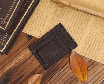 Harga Men genuine leather Short Wallets billfold Card holder Purses -coffee
