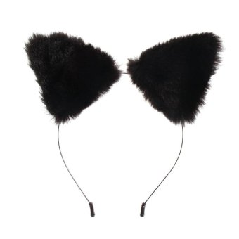 Fashion Girl's Cute Cat Fox Ears Fur Headband Cosplay Party Costue Black