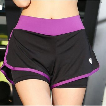 Harga Women Yoga shorts Heart sport shorts Quick dry fake two Traning running shorts Breathable lady shorts Purple - intl