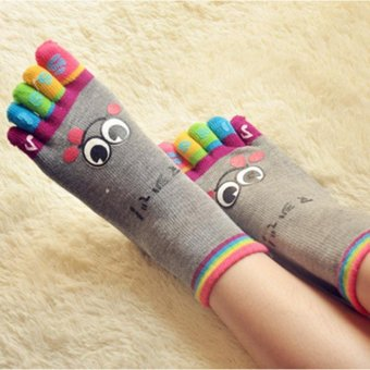 Harga Hang-Qiao Cartoon Smile Face Five Toe Fingers Colorful Socks (Grey) - intl