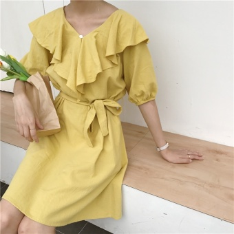 Harga Small female house ~ Solid color strap dress Han Ban V collar solid color dress (Yellow)