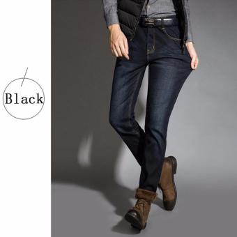 Harga Brand Mens Winter Stretch Thicken Hot Jeans Polar High Quality Denim Biker Jean Trousers Pant Size (Black) - intl