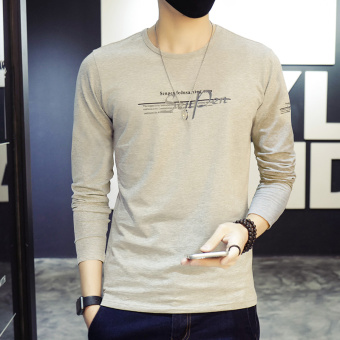 Harga Duke car spring new men's long sleeve t-shirt round neck qiuyi clothes bottoming shirt slim t-shirt men's tide (Gray)