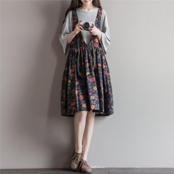 Harga 2016 cotton printed vest dress large size autumn new literary sen female line straps a-line dress