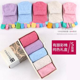 Ms. cotton socks toe socks spring and autumn colored cotton short toe socks toe socks five fingers socks warm deodorant (Have with cotton solid color)