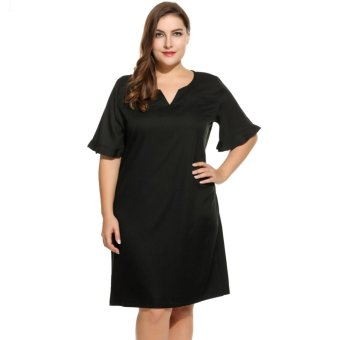 Harga Women's Plus Size Notch Neck Flare Sleeve Solid Casual Shift Dress Black - intl