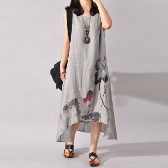Harga ZANZEA Plus S-5XL Women Sleeveless Loose Cotton Linen Summer Sundress A-line Tank Dress - intl