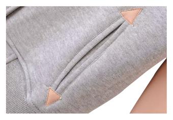 ZigZagZong Women's Varsity PU Sleeve Jacket Grey (EXPORT) - 4