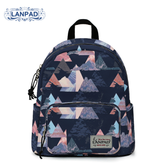 Harga LANPAD2017 small mini shoulder bag casual backpack fashion Print student small fresh exquisite small bag (Black geometric)