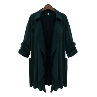 Harga ZANZEA PLUS SIZE Womens Lapel Slim Long Chiffon Parka Cardigan Jacket Trench Coat New Dark Green Size S-5XL - intl