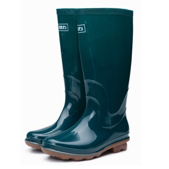 Harga Spring and Autumn in tube rain boots women's non-slip rubber boots shoes in tube boots waterproof fishing boots water shoes comfortable planting boots (Green)