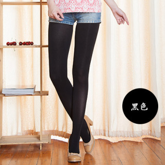 Autumn color fashion leggings tights socks in tube socks thick stockings personalized pattern pantyhose velvet candy color female (Black)