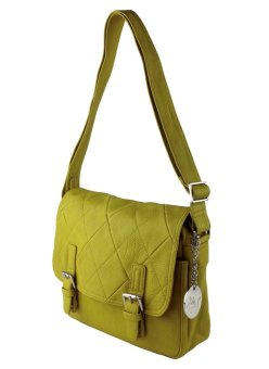 Harga Perllini and Mel Quilted Postman Crossbody Bag (Yellow)