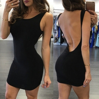 Sexy Women Sleeveless Bodycon Solid Backless Mini Tank Dress