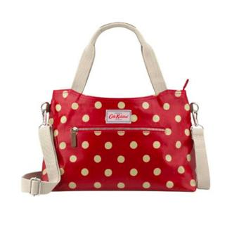 Harga Cath Kidston zipped handbag with detachable strap (button spot dark red)
