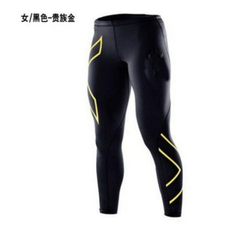 Harga Men Bodybuilding Trousers Fitness clothes running clothes riding clothes fast Dry trousers Compression Pants SportsTights -Gold(S) - intl