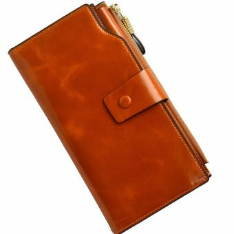 Harga ORIGINAL VERA PELLE WALLET, LEATHER LONG WOMEN'S WALLET COGNAC BROWN