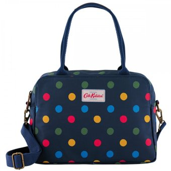 Harga Cath Kidston Matt Oilcloth Busy Bag Handbag Crossbody Tote Colourful Polka Button Spot Multi Navy 481847