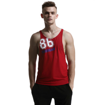 Harga Seobean Men's O-Neck Tank Tops Summer Male Sleeveless Crew Neck Causal Vest (Red,Size:S-XL)