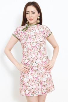 Harga Charmed on 9th Teri In Olive Floral Orient Mini Dress
