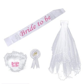 Harga 4 PCS Bride to Be Party Decoration Set Sash Garter Badge Veil with Comb for Bridal Shower Party Hen Night Bachelorette Party Supply - intl