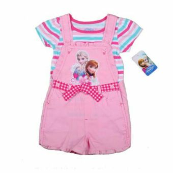 Harga Frozen Elsa and Anna Denim Romper with Shirt 4 years (Pink)