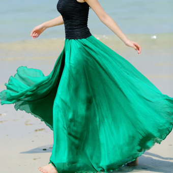 Harga 2016 new bohemian solid color fairy chiffon bust skirt put on a large seaside resort beach dress skirt dress was thin (Green)