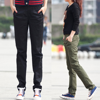 Harga Korean-style HarLan Slimming effect elastic waist straight pants Spring and Autumn casual pants