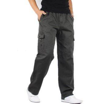 Hemiks Men's Cargo pants casual 100% cotton loose long pants(Gray) - intl - 2