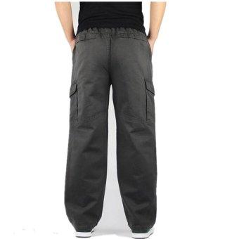 Hemiks Men's Cargo pants casual 100% cotton loose long pants(Gray) - intl - 4