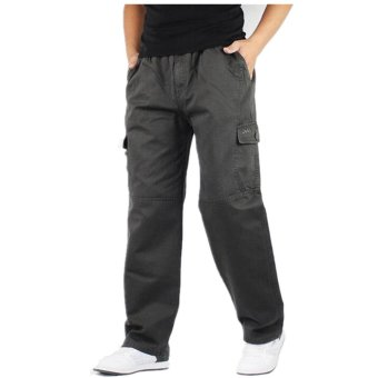 Hemiks Men's Cargo pants casual 100% cotton loose long pants(Gray) - intl - 3
