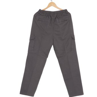 Hemiks Men's Cargo pants casual 100% cotton loose long pants(Gray) - intl - 5