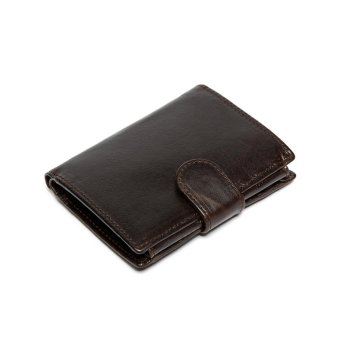 Harga Men's bifold leather wallets multiple storage space coffee - intl