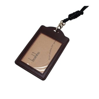 Boshiho® Vertical Style Leather ID Card Badge Holder with Heavy Duty Lanyard (Brown) - Intl - 2