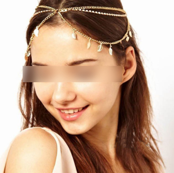 Stunning Elegant Gold Leaves Crystal Headband Chain Hair Accessories Head Band - 4