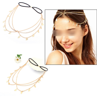 Stunning Elegant Gold Leaves Crystal Headband Chain Hair Accessories Head Band - 2