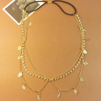 Stunning Elegant Gold Leaves Crystal Headband Chain Hair Accessories Head Band - 3