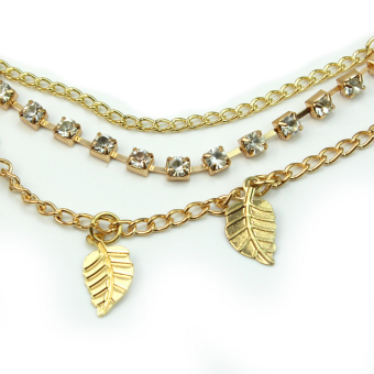 Stunning Elegant Gold Leaves Crystal Headband Chain Hair Accessories Head Band - 5