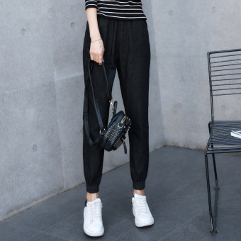 Harga 2017 spring New style elastic waist high waist black Loose jeans female HarLan pants nine points feet lantern pants (Black)