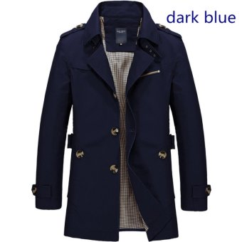 Harga Men's Fashion New Winter Jeep Casual Jacket Long Paragraph Cotton Washed Large Code Coat (Dark Blue) - intl