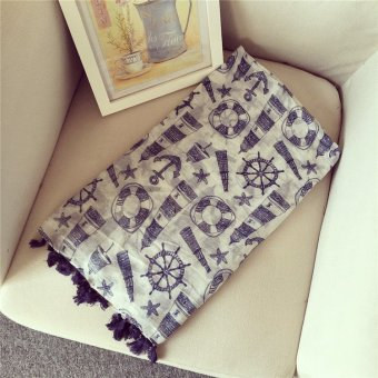 Harga Small fresh navy style tassel scarf bali yarn cotton thin section influx of foreign trade of the original single new scarf shawl dual (Picture color)