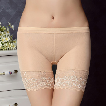 Harga Sexy lace jacquard hemming security thirds backing anti emptied panties underwear (Skin color)