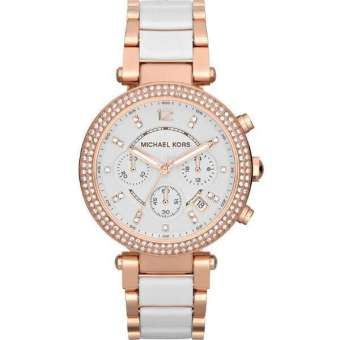 Michael Kors Parker Chronograph Women's White/Rose Gold Stainless Steel Strap Watch MK5774