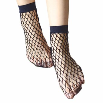 Harga Hequ The new spring and summer fishing nets or cross British Style socks and stockings Black - intl