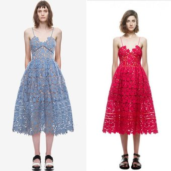 Harga 2173 # classic Self * portrait on the left bank of the lace dress (Navy blue)